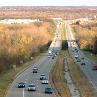 Sagamore Parkway road with traffic in Lafayette, Indiana