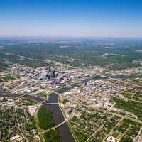 Aerial photo of Des Moines, Iowa from 10,000 feet