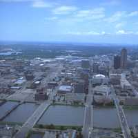 Aerial view of floodwaters in Des Moines, Iowa