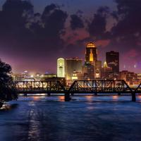 Downtown Des Moines at Night in Iowa