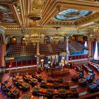 Inside the capital congress building in Des Moines, Iowa