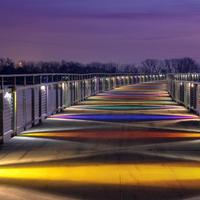Lighted up Bridge across Grey's Lake in Des Moines, Iowa