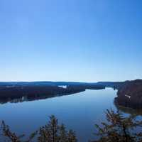 Landscape of the wide gaping Mississippi at Effigy Mounds, Iowa