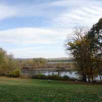Overlooking the river from the visitor's center at Effigy Mounds, Iowa