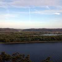 Sky and river view from Hanging Rock at Effigy Mounds, Iowa