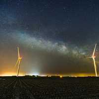 Milky Way Galaxy over rural farms in Iowa