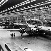 Boeing B-29 assembly line during 1944 in Wichita, Kansas