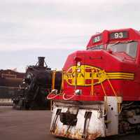 Locomotives on display at the Great Plains Transportation Museum in Wichita, Kansas
