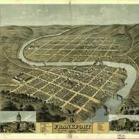 Bird's-Eye View of Frankfort in 1871 in Kentucky
