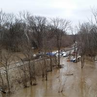 Flooding near the train tracks in Kentucky