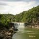 Waterfall on the Cumberland River and landscape in Kentucky