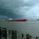 A tanker on the Mississippi River in New Orleans in Louisiana