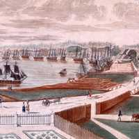 New Orleans Cityscape and port in 1803 in Louisiana