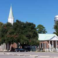 St. Peters Catholic church with Water Tower in Carencro, Louisiana