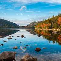 Beautiful Scenic lake view of Jordan Pond at Acadia National Park