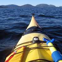 Canoeing on the waters of Acadia National Park, Maine