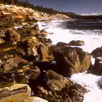Shoreline and waves at Acadia National Park, Maine