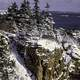 Snow and winter landscape in Acadia National Park, Maine