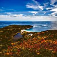 Autumn Landscape of the forest and the seashore at Bar Harbor, Maine