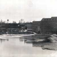 Black and white photo of Lewiston factories in Maine