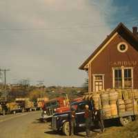 Trucks outside a starch factory in October, 1940 in Caribou, Maine
