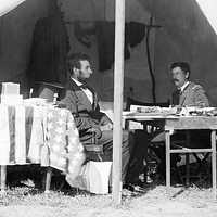 Meeting of Lincoln and McClellan at Antietam Battlefield, Maryland
