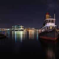 Night Time at the dock in Baltimore, Maryland