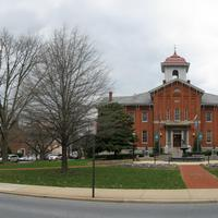 Panoramic Image around city hall in Frederick, Maryland