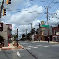 Streets, wires, and shops in Manchester, Maryland