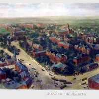 1906 watercolor painting of the landscape of Harvard University, Boston, Massachusetts