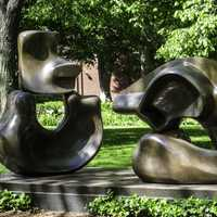 Henry Moore's Large Four Piece Sculpture at Harvard University, Cambridge, Massachusetts