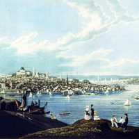Looking upon Boston from Dorchester Heights in 1841 in Massachusetts