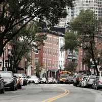 Streets Lined with cars in Boston, Massachusetts