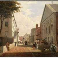 Tremont Street in 1843 in Boston, Massachusetts