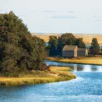 River, landscape, and house at Cape Cod, Massachusetts