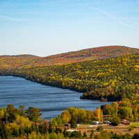 Autumn colors with Superior Bay with colorful trees