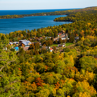 Autumn Leaves and colors and bay of superior at Copper Harbor