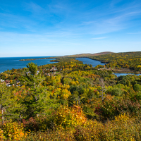 Scenic overlook of Copper Harbor and Lake Superior
