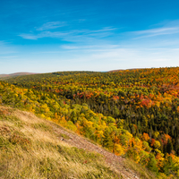 Valley landscape and autumn forest at Copper Harbor