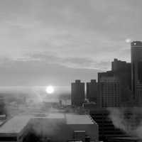 Black and White Cityscape and buildings in Detroit, Michigan