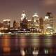 Detroit skyline with night lights in Michigan