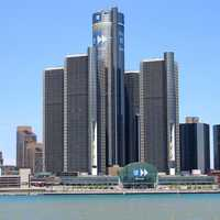 Renaissance Center, the headquarters of General Motors in Detroit, Michigan
