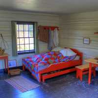 Bed and bedroom at Fort Wilkens State Park, Michigan