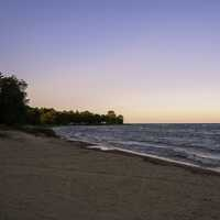 Shoreline of lake Michigan at Dusk at J.W. Wells State Park, Michigan