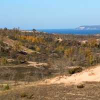 Sand dunes landscape near lake Michigan