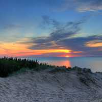 Colorful Sunset over Lake Superior at Pictured Rocks National Lakeshore, Michigan