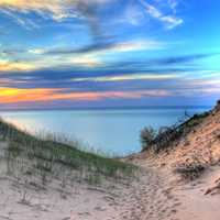 Lake Superior between the dunes at Pictured Rocks National Lakeshore, Michigan