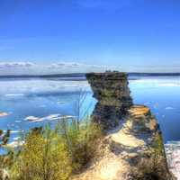 Looking past Miner's Castle at Pictured Rocks National Lakeshore, Michigan