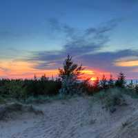 Sunset over the dune at Pictured Rocks National Lakeshore, Michigan
