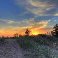 Sunset over the dunes at Pictured Rocks National Lakeshore, Michigan